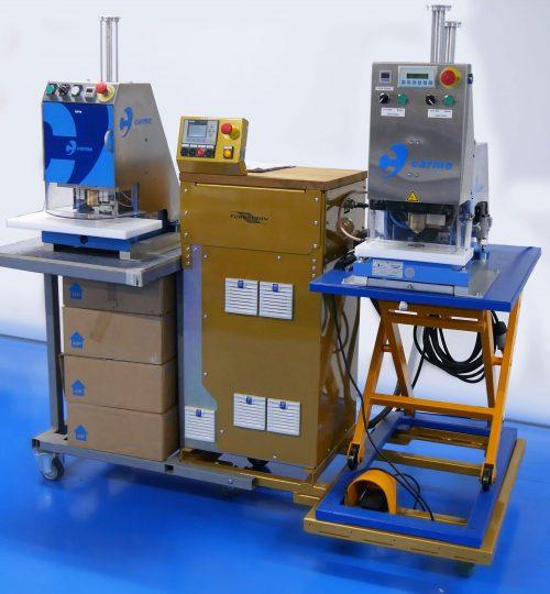 Carmo капсачка - високочестотно заваряване на пластмасови капси към кристал или винил